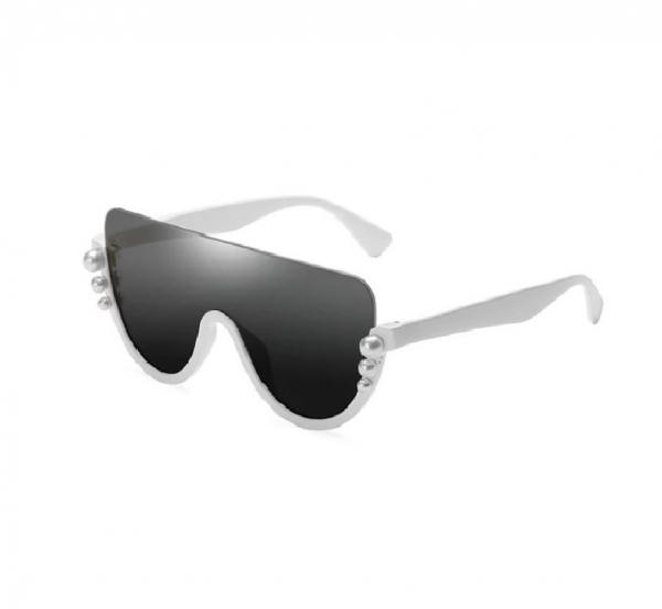 Ochelari de Soare Albi cu Perle 0