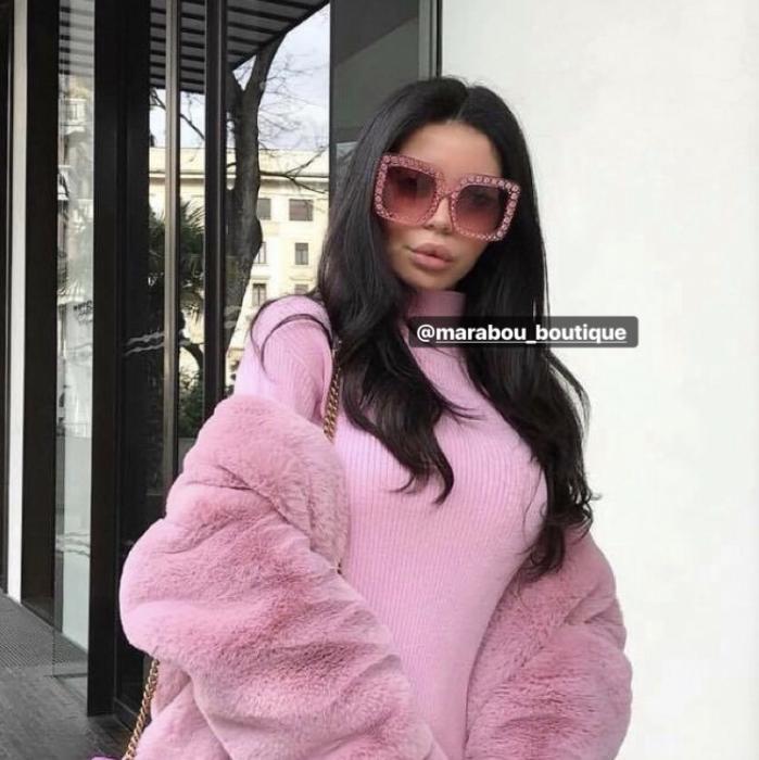 Ochelari de Soare Roz cu Cristale 16