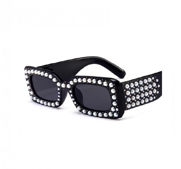 Ochelari de Soare Rectangulari Negri cu Perle 0