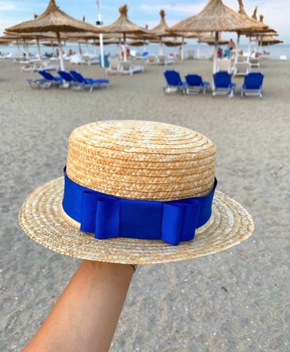Canotiera Handmade din paie cu funda Albastra si albina 0