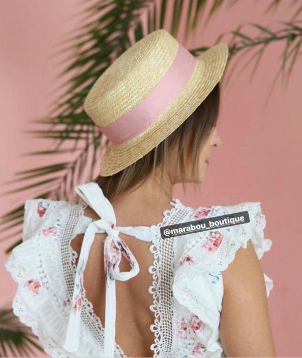 Canotiera Handmade din paie cu funda Roz deschissi albina 16