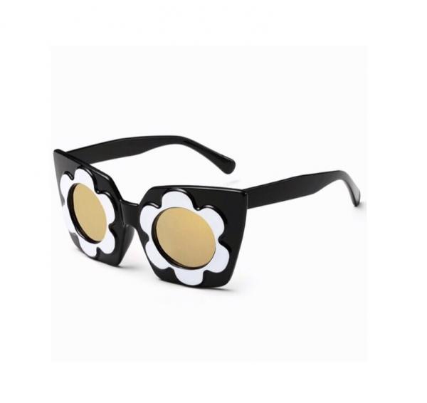 Ochelari de Soare Negri cu Flori Albe 0