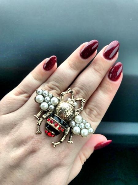Inel Oversized Reglabil Albina cu perle - Marime Mare 13