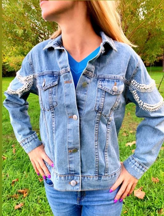 Jacheta Handmade cu aplicatii cu perle pe spate 1