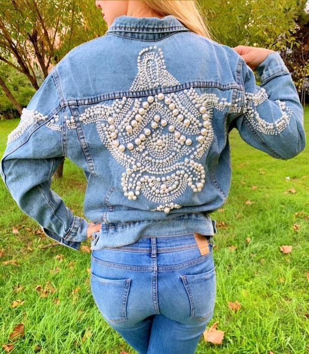 Jacheta Handmade cu aplicatii cu perle pe spate 0