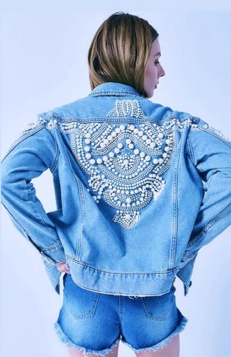 Jacheta Handmade cu aplicatii cu perle pe spate 5