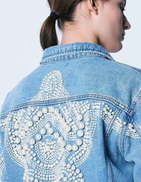 Jacheta Handmade cu aplicatii cu perle pe spate 3