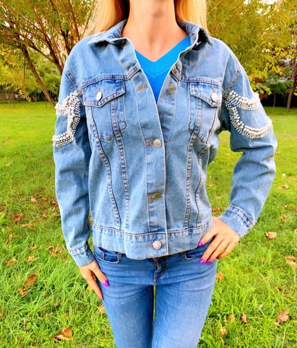 Jacheta Handmade cu aplicatii cu perle pe spate 2