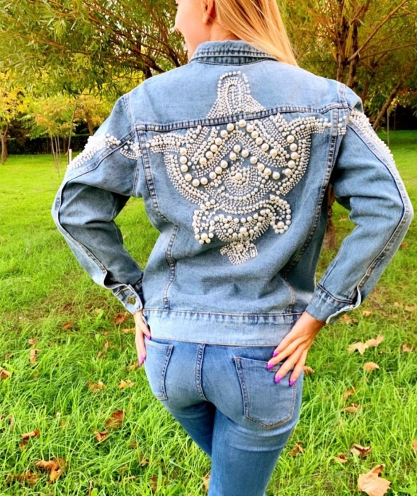 Jacheta Handmade cu aplicatii cu perle pe spate 10
