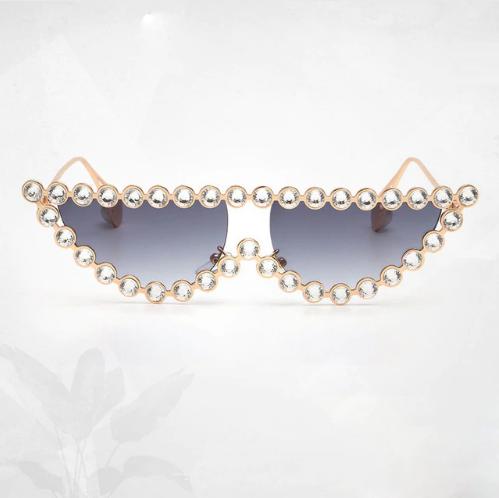 Ochelari de Soare Gri cu Cristale 0
