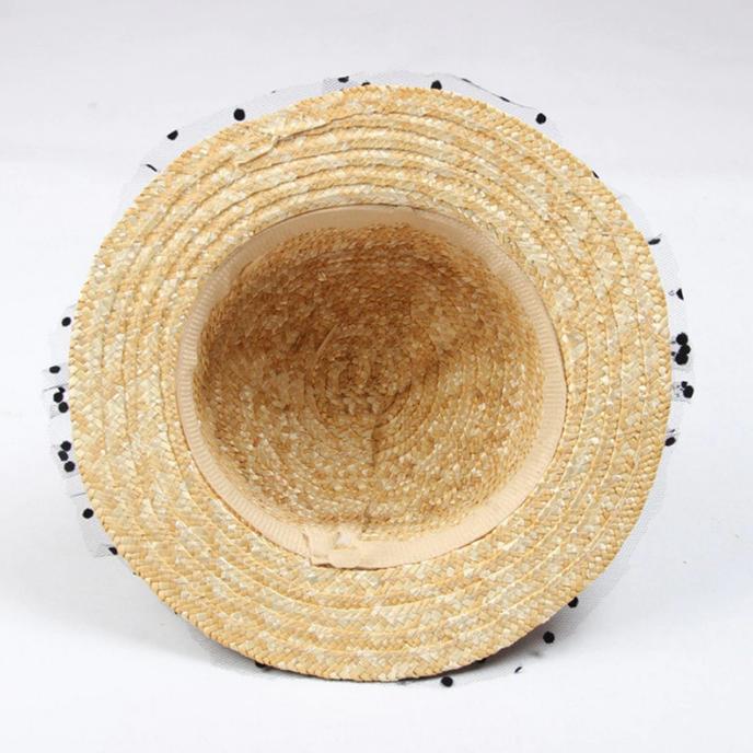 Canotiera Handmade din paie cu buline Negre 15