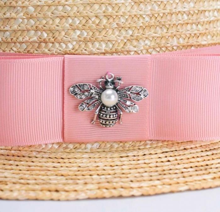 Canotiera Handmade din paie cu funda Roz deschissi albina 2
