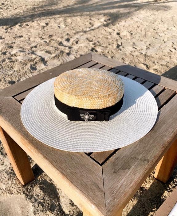 Palarie de Soare Handmade din paie in 2 culoricu funda neagra 0